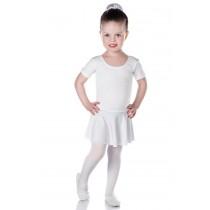 INFANTIL - Collant de Ballet Manga Curta Branco