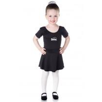 INFANTIL - Collant de Ballet Manga Curta Preto