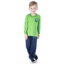INFANTIL - Camiseta Algodão Manga Longa Verde